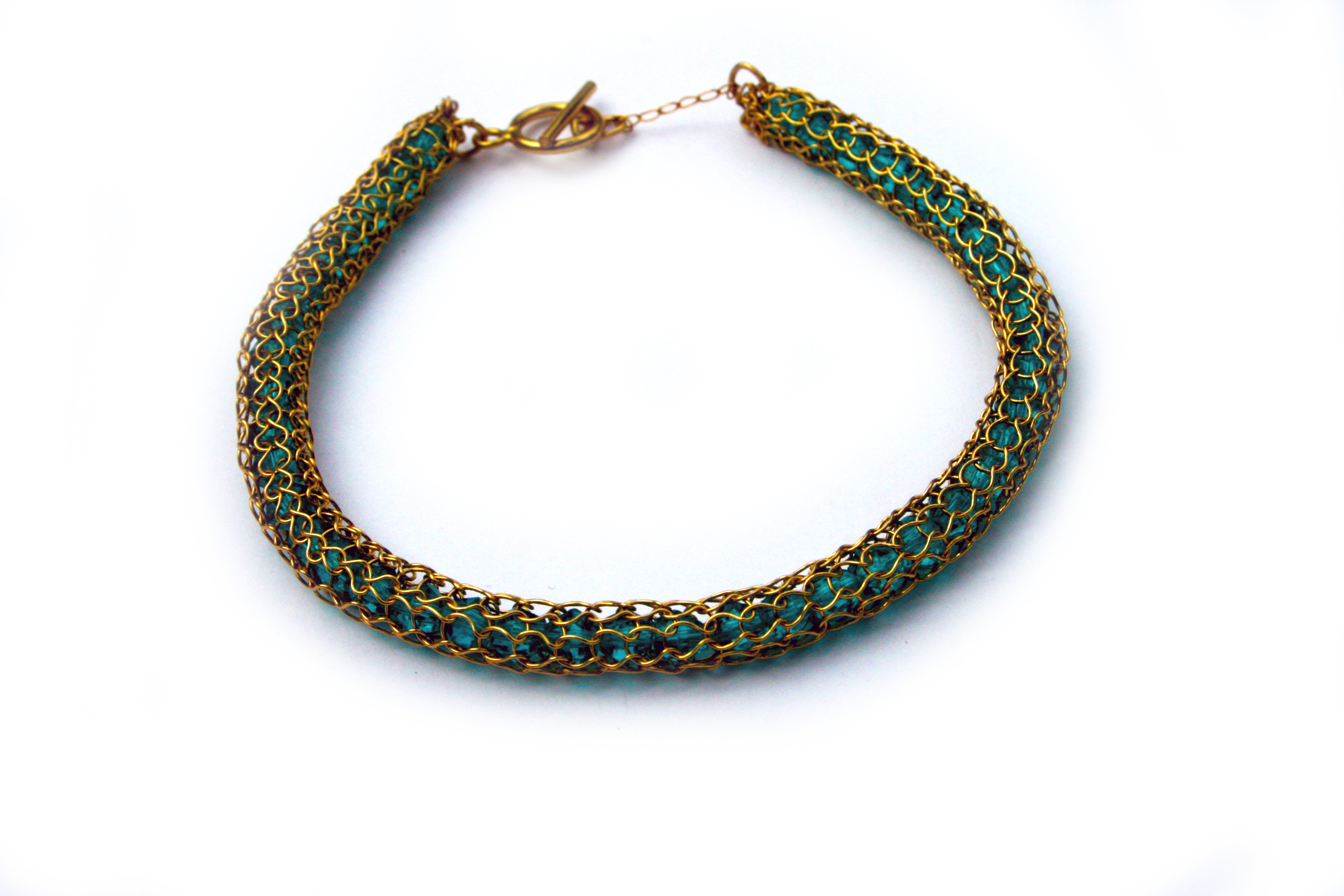Gold Crochet Bracelet with Green Glass Beads   The Design House