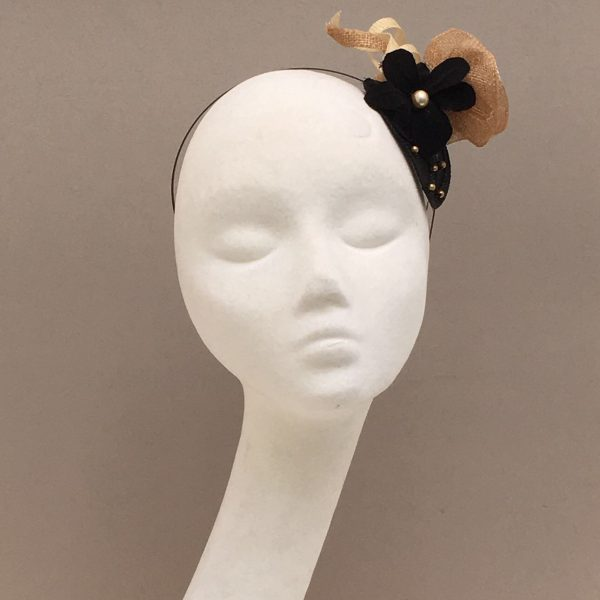Black & gold Sinamay flower head piece