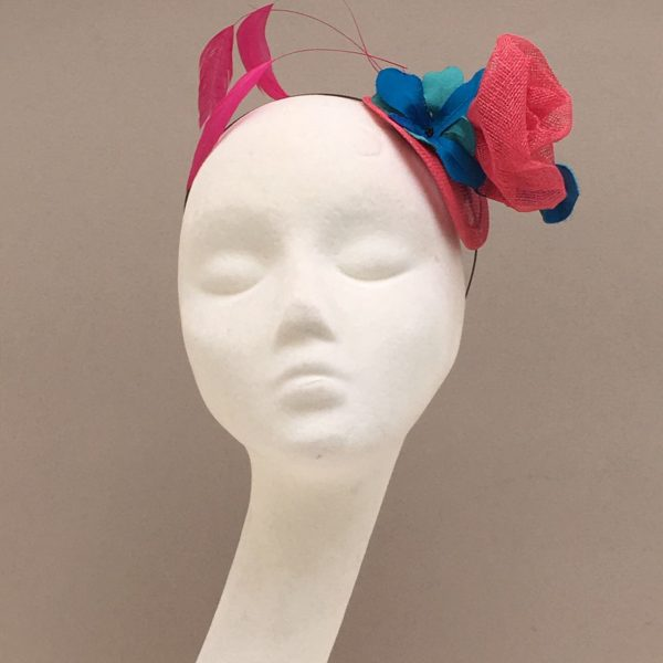 Sinamay rose head piece