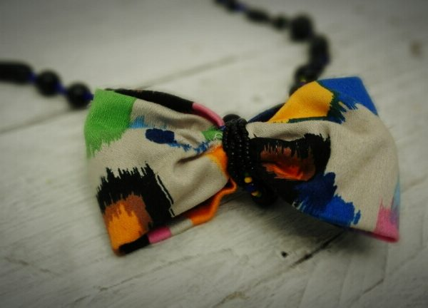 Black and Purple Hand Beaded Bow Necklace