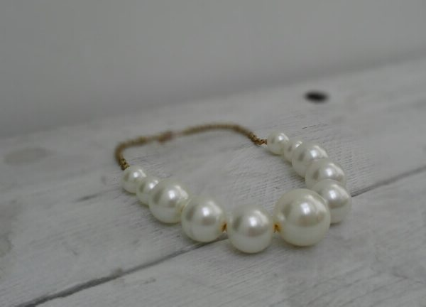 Faux Pearl Necklace with Brass Chain