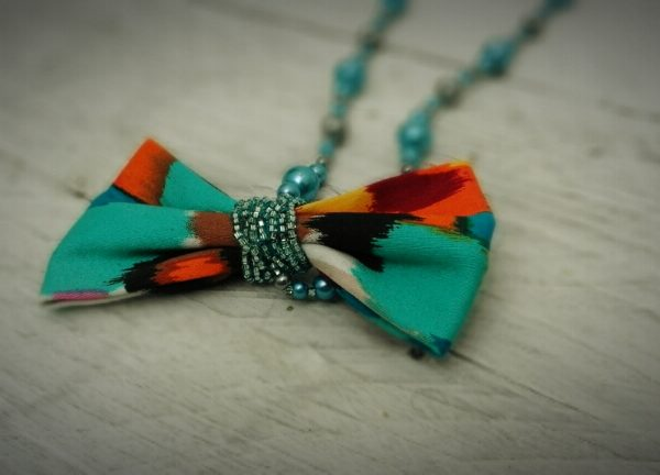 Light Blue and Silver Hand beaded Bow Necklace