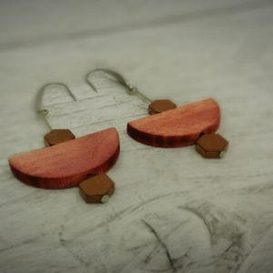 Wood and Hematite Earings