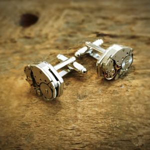 Hexagonal clockwork cufflink